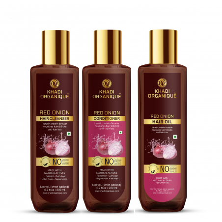 Khadi Organique Red Onion Hair Oil, Cleanser & Conditioner Combo Kit