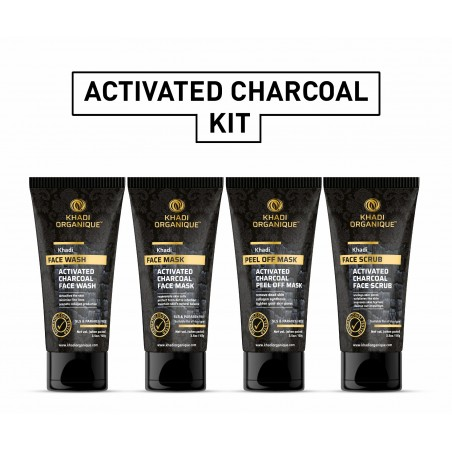 Khadi Organique Activated Charcoal Face wash, Scrub, Mask & Peel Off Mask Combo Kit