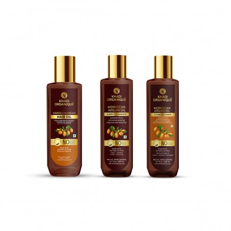 KHADI ORGANIQUE MOROCCAN ARGAN HAIR OIL, CONDITIONER & CLEANSER