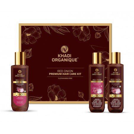 Khadi Organique Red Onion Hair Oil, Cleanser & Conditioner Gift Kit