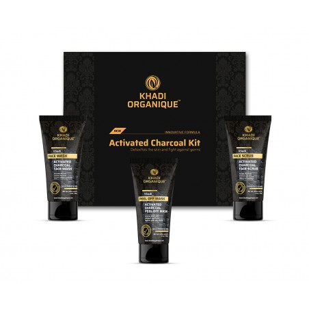 Khadi Organique Activated Charcoal Face wash, Scrub & Peel Off Mask Gift Kit