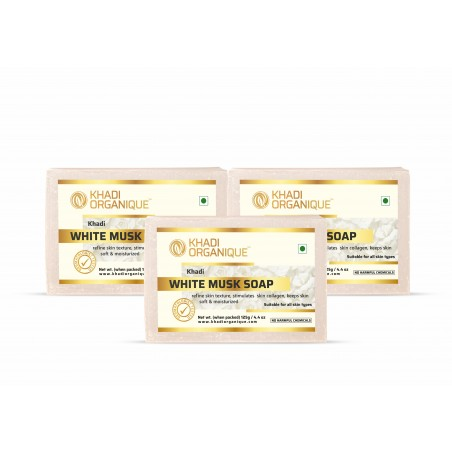 KHADI ORGANIQUE WHITE MUSK SOAP (Pack of 3)